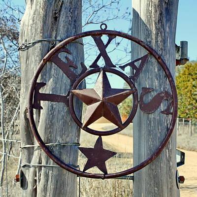 Texas Star Rustic Iron Sign Art Print
