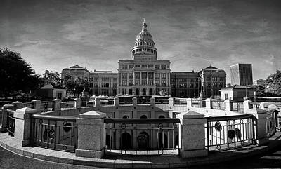 Photograph - Texas State Capitol Black And White by Judy Vincent