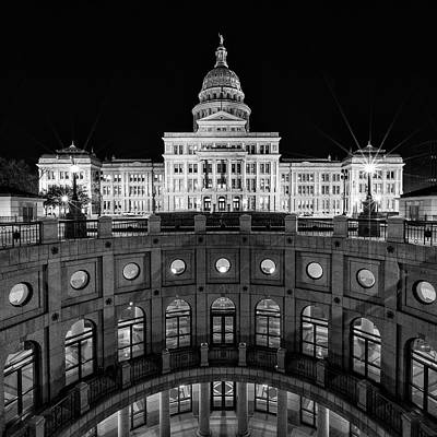 Gwb Photograph - Texas State Capitol - Bw Square by Stephen Stookey