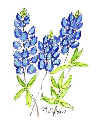 Painting - Texas State Flower The Bluebonnet by Kathleen McElwaine