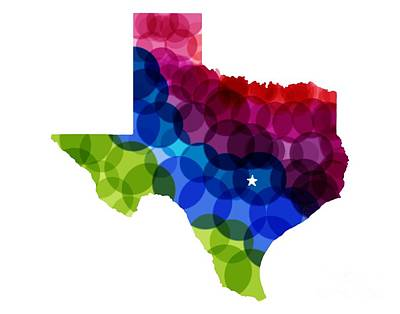 Mixed Media - Texas State In Rainbow With Austin Star by Julie Knapp