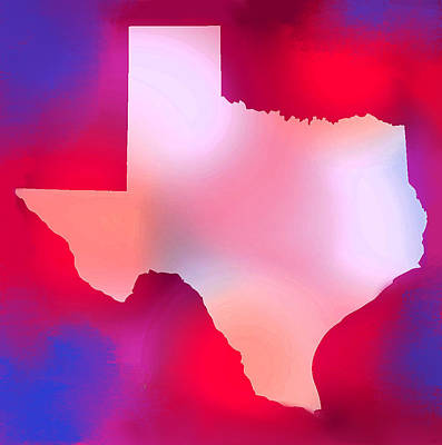 Texas Map Painting - Texas State Map Red  by Enki Art
