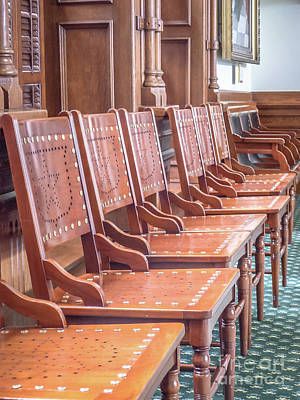 Photograph - Texas Statehouse Chairs by Edward Fielding