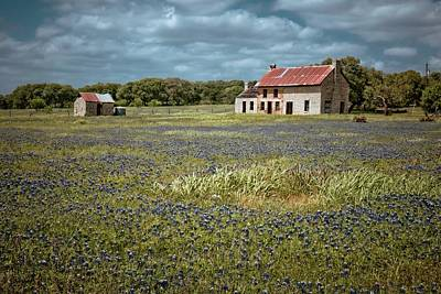 Old Country Roads Photograph - Texas Stone House by Linda Unger