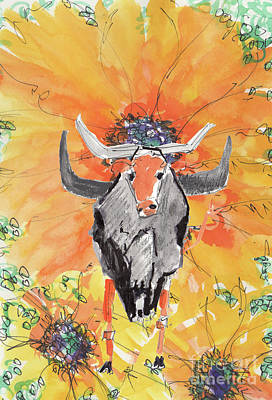 Painting - Texas Sun And Longhorns by Kathleen McElwaine