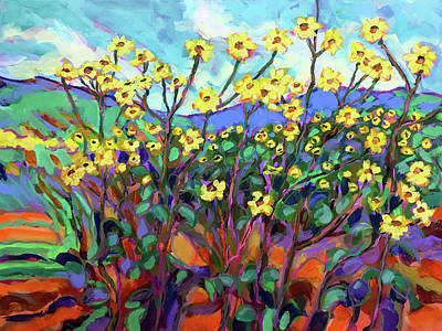 Wall Art - Painting - Texas Sunflower Patch In The South Forty by Charles Wallis