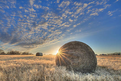 Texas Sunset Over Bales Of Hay 1 Art Print by Rob Greebon