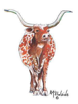 Texas Longhorn Taking The Lead Watercolor Painting By Kmcelwaine Art Print by Kathleen McElwaine