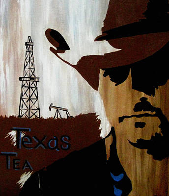 Oil Rig Painting - Texas Tea  by Cheri Stripling