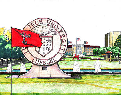 Texas Drawing - Texas Tech University Seal Statue by Yang Luo-Branch