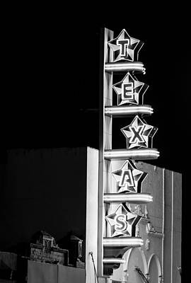 Photograph - Texas Theater Neon Bw by Rospotte Photography
