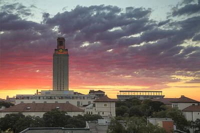 Ut Tower Photograph - Texas Tower At Sunrise 1 In September by Rob Greebon