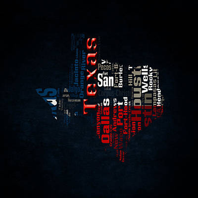 The Lone Star State Digital Art - Texas Typographic Map by Brian Reaves