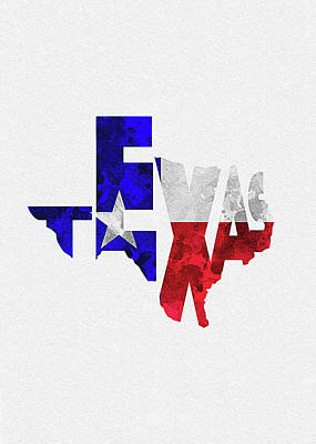 Abstract Map Digital Art - Texas Typographic Map Flag by Inspirowl Design