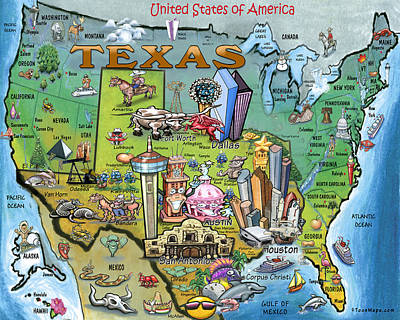 Digital Art - Texas Usa Cartoon Map by Kevin Middleton
