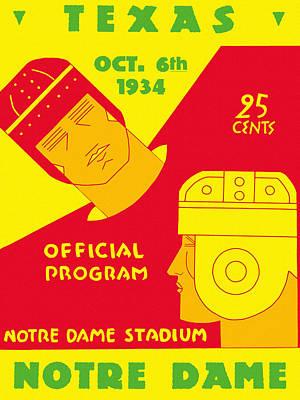 Leprechaun Painting - Texas Vs Notre Dame 1934 Program by Big 88 Artworks