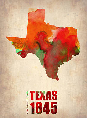 University Digital Art - Texas Watercolor Map by Naxart Studio