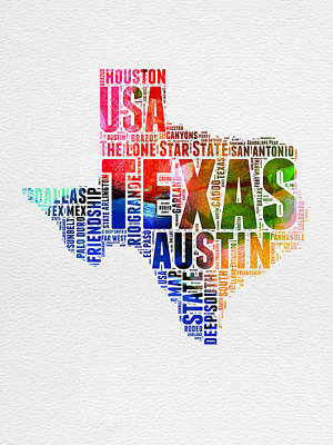 Austin Mixed Media - Texas Watercolor Word Cloud  by Naxart Studio