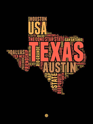 Texas Word Cloud 1 Art Print by Naxart Studio