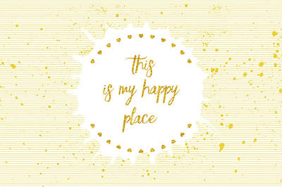 This Digital Art - Text Art This Is My Happy Place II - White With Hearts by Melanie Viola