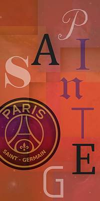 Typography Digital Art - Text Composition Of Psg by Alberto RuiZ