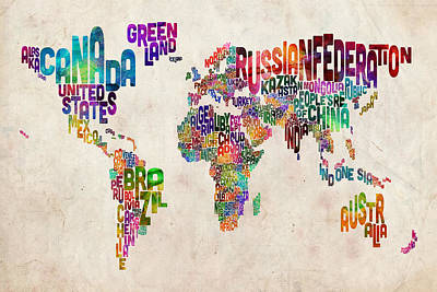 Urban Digital Art - Text Map Of The World by Michael Tompsett