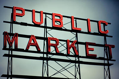 Text Public Market In Red Light Art Print