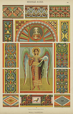 Angel Drawing - Textile Patterns From The Middle Ages by German School