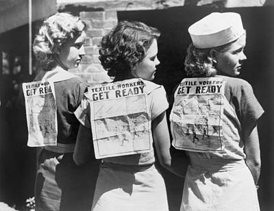 Textile Workers Displaying Picket Signs Art Print by Everett