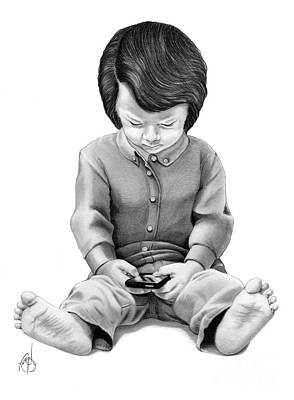 Drawing - Texting Child by Murphy Elliott