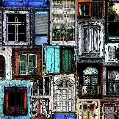 Digital Art - Textural Windows Collage by Phil Perkins