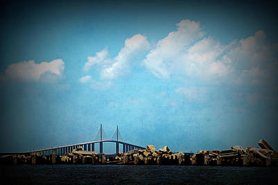 Photograph - Texture Drama Sunshine Skyway Bridge by Aimee L Maher ALM GALLERY