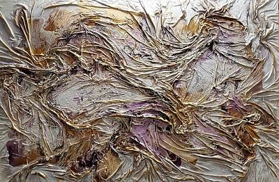 Mixed Media - Texture Purple And Gold Series 1 by Angela Stout