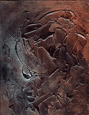 Mixed Media - Textured Acrylic On Black #1 by Richard Ortolano