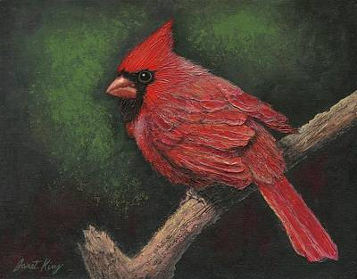 Textured Cardinal Print by Janet King