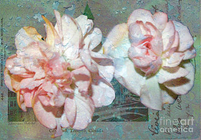 Photograph - Textured Carnations On Vintage Toronto Postcard by Nina Silver