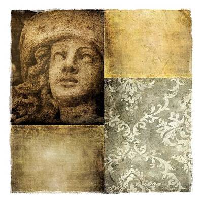 Digital Art - Textured Collage Square - Girl by Patricia Strand