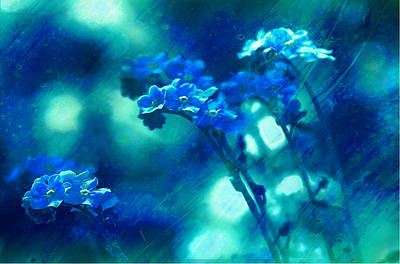 Digital Art - Textured Forget Me Nots by Fine Art By Andrew David