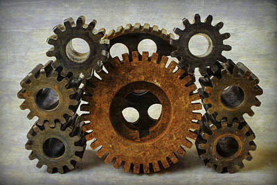 Gear Photograph - Textured Gears by Garry Gay