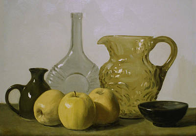 Painting - Textured Glass And Apples by Robert Holden