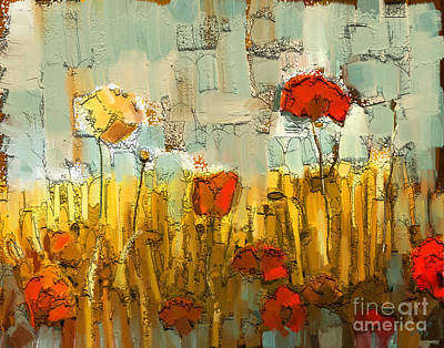 Fabric Mixed Media - Textured Poppies by Carrie Joy Byrnes