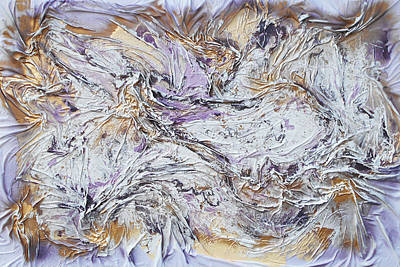 Mixed Media - Textured Purple And Gold by Angela Stout