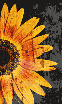 Textured Sunflower Art Print by Cathie Tyler