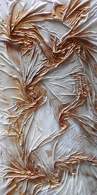 Mixed Media - Textured White And Gold Series 2 by Angela Stout