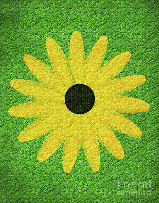 Art Print featuring the digital art Textured Yellow Daisy by Smilin Eyes  Treasures