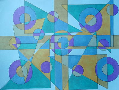 Print featuring the drawing Textures In Blue  by Beth Akerman