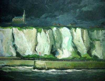 Tha Cliffs Of Etretat At Night Print by Zois Shuttie