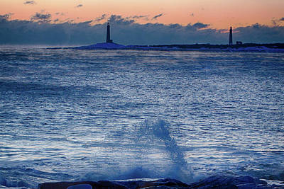 Photograph - Thacher Island Lighthouse Waves Jump by Jeff Folger