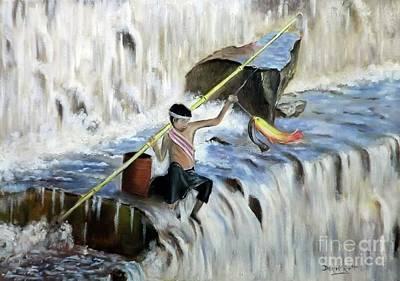 Thai Artist Artists Painting - Thai Boy Pole Fishing At Waterfall by Derek Rutt