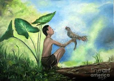Thai Artist Artists Painting - Thai Boy Waking Up His Prize Chicken by Derek Rutt